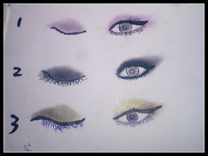 纸上画,先用水笔画好眼睛 然后上眼影 最后再用大头笔画上眼线 -第