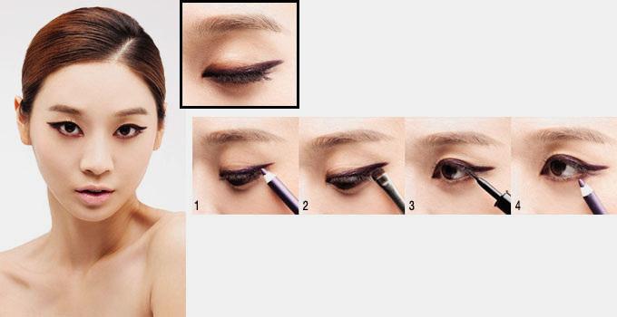 最近韩国大热画眼线方法-彩色眼线