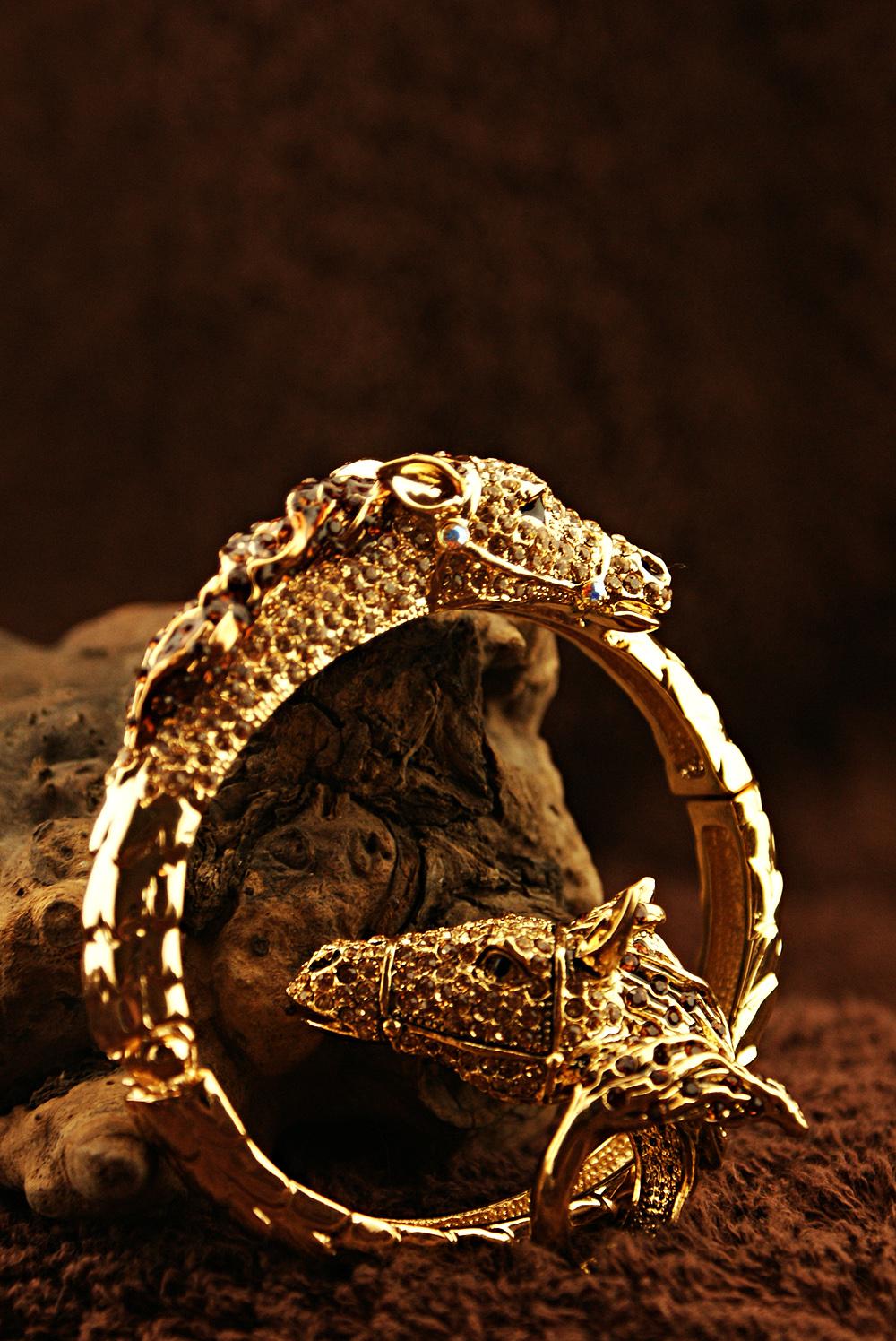 首批来自国外的手工水晶镶嵌饰品,被演绎成了非洲丛林上的野生动物园.