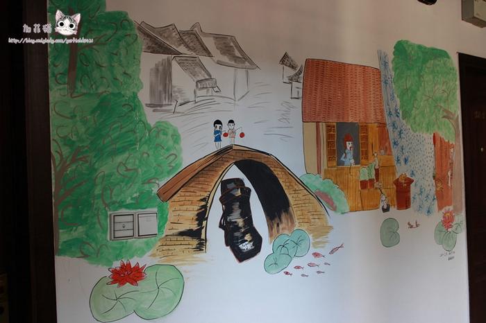 路边民宿墙上的手绘图