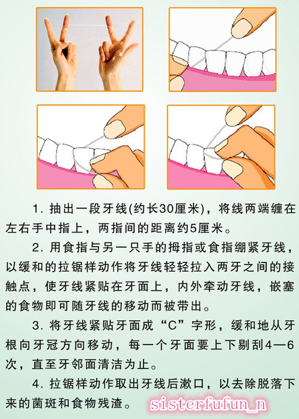 开始许多人用着可能很不习惯觉得口水特别多,但是用着用着就习惯了,我们这许多大年纪的人,连午饭后都用,所以年轻人很容易学会的!( ̄ ̄)/ 我介绍许多人到屈臣氏买牙线,他们一般都可能买到牙线棒,这物用起来比较方便,但是牙线比较扁宽,所以不好拿出来,容易弄伤牙龈。