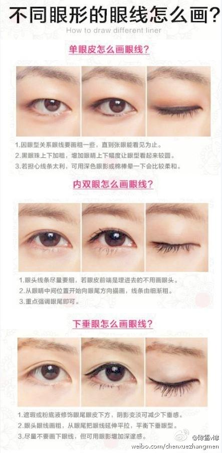 单眼皮怎么画眼线
