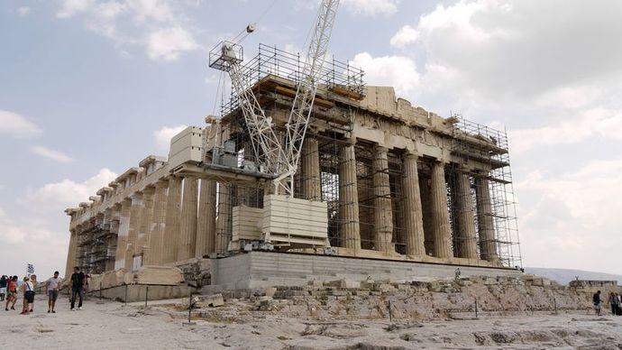 雅典神庙手绘画
