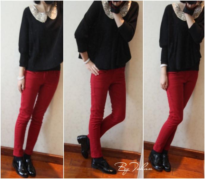 棕红色裤子搭配图片